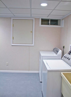 Finishing off the basement laundry makes it a more pleasant place to work and a lot easier to keep clean.