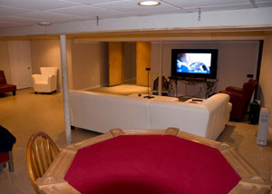 a basement entertainment room finished by our remodelers