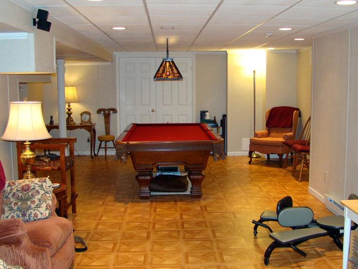 A Finished Basement Billiards Room.