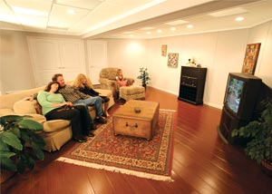 A finished basement family room