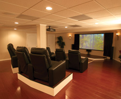basement finishing ideas home theater - Home Basement Designs