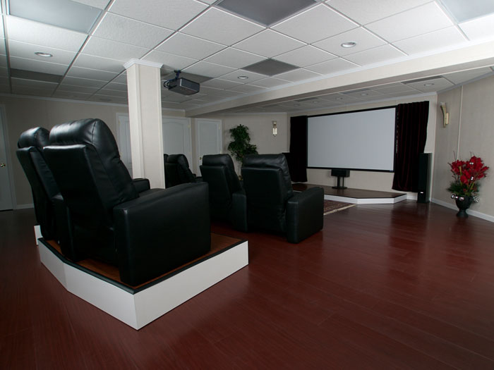 Exceptional A Home Theater System Installed In A Finished Basement.