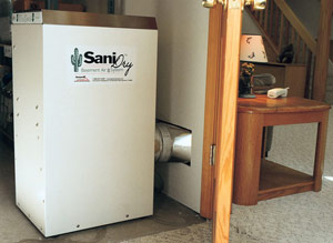 A powerful blower allows the SaniDry™ to do its job from an adjacent unfinished utility room or closet should your basement be finished.