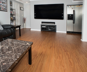 Basement TV Room Finished With ThermalDry Elite Flooring